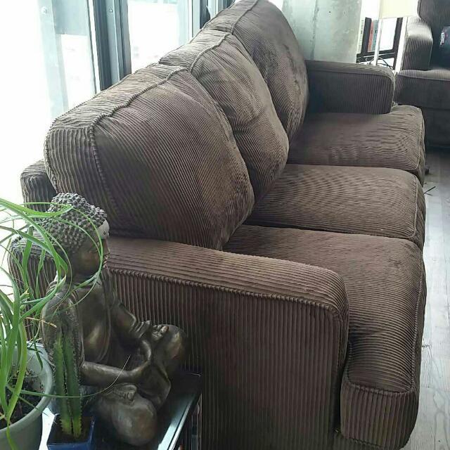 Brown Corduroy 3 Seat Sofa
