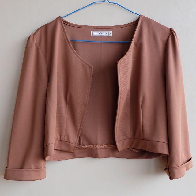 Brown Crop Blazer