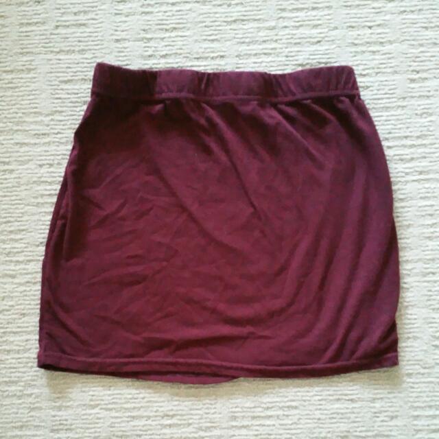 Burgandy Mini Skirt