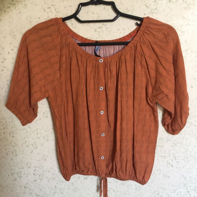 Burnt Orange Off Shoulder Folded And Hung Blouse