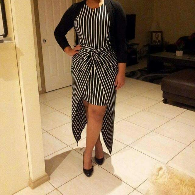 Free Postage B&W Striped High Low Maxi Wrap Dress 14