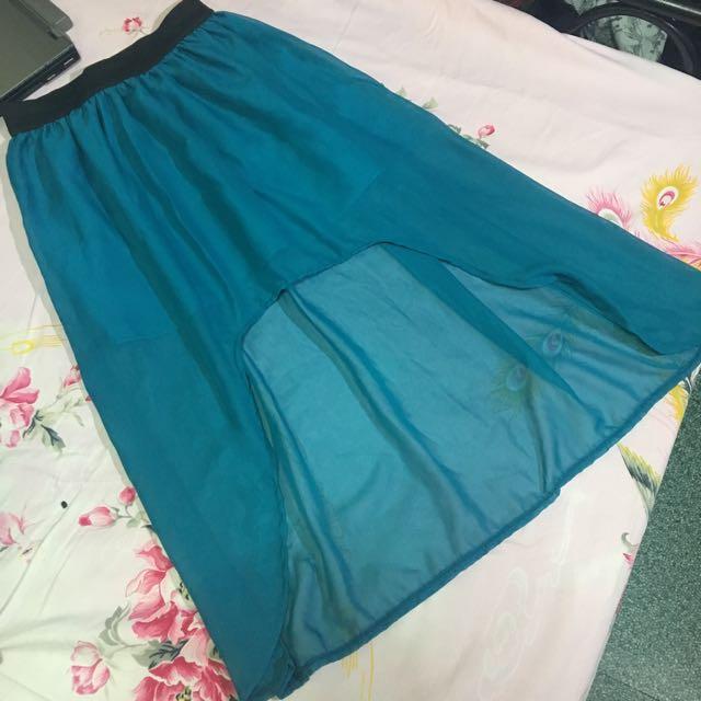 Greenish Blue Sheer Skirt