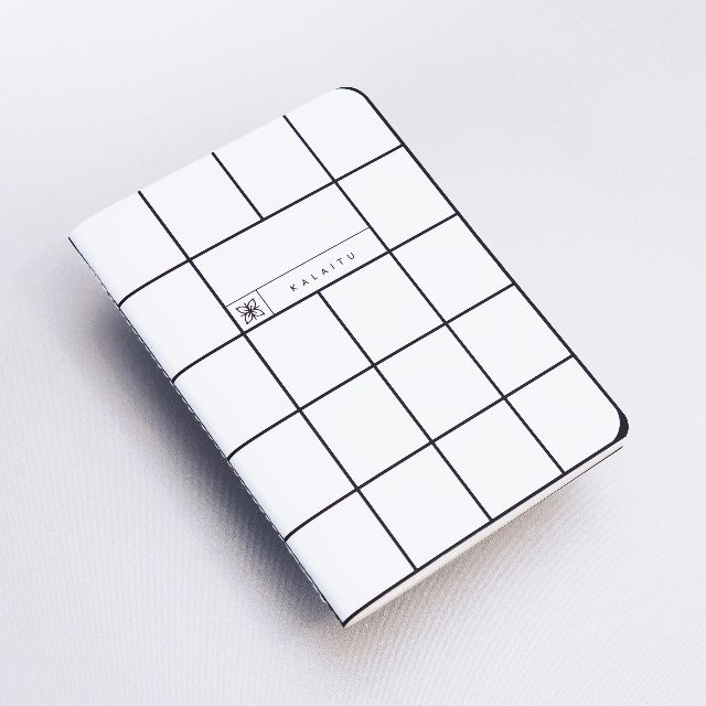 Grid White Pocket Notebook | Graphic Notebook | Minimalist Notes