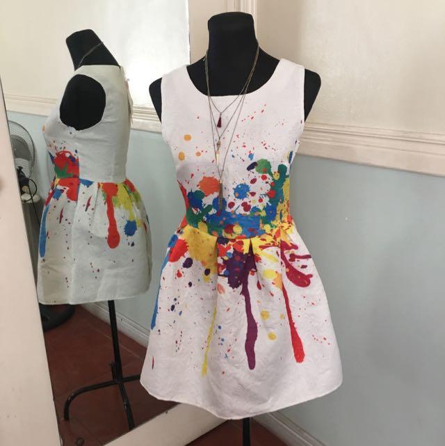 KOREAN Fashion Paint Splash Dress