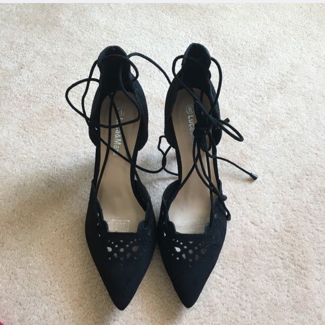 Laser Cut Pointed Lace Up Heels