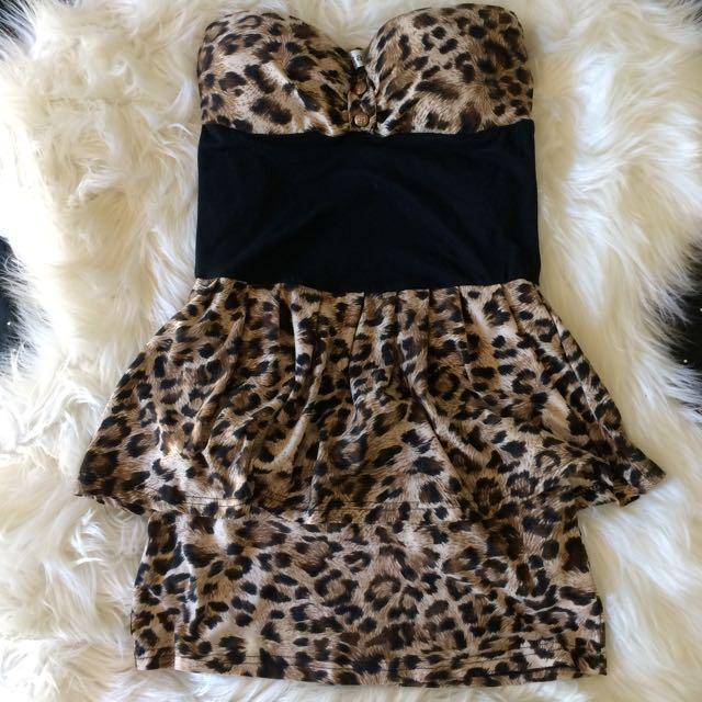 Leopard Print Peplum Dress