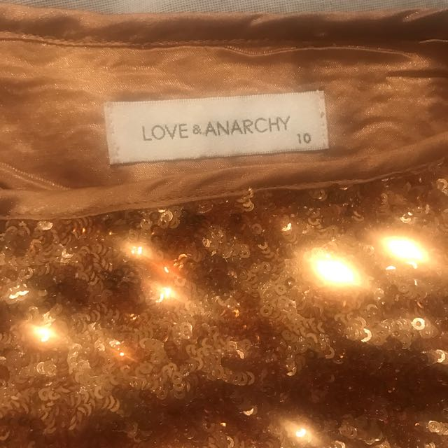 Love And Anarchy Sequinned Gold Skirt Sz 10
