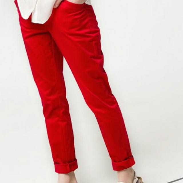 Mango Red Slim Pants