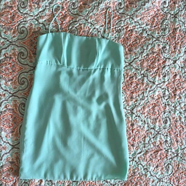 Mint Green Chiffon Mini Dress