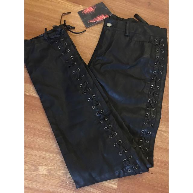 Neon Hart Leather Look Pants