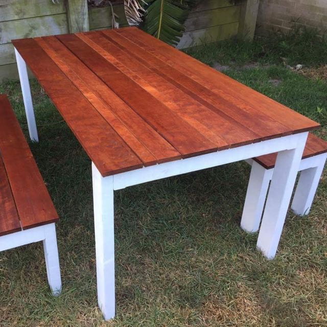 Outdoor Timber Table Including Benches.