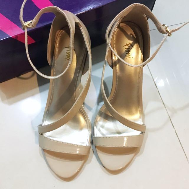 Payless Fioni Nude Asymmetrical Strap Heels