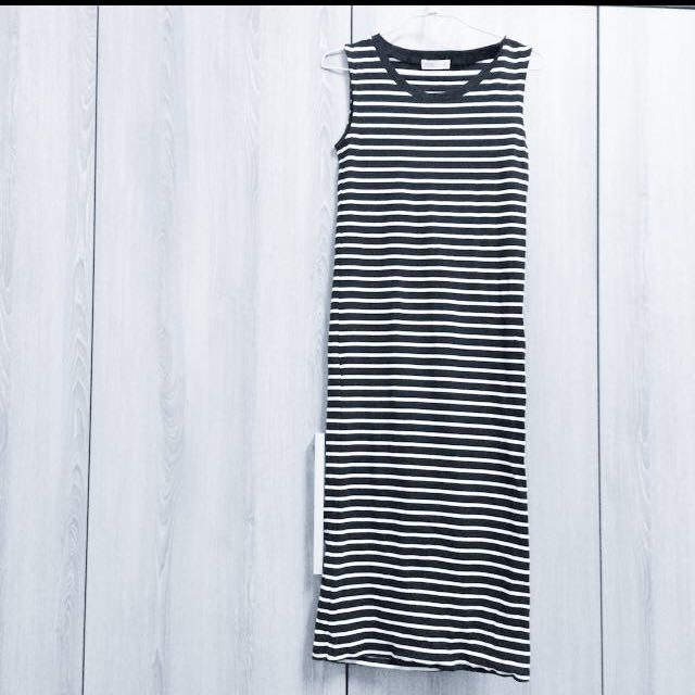 (含運)pazzo條紋長裙 窄 S
