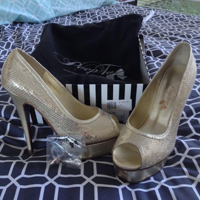 PeepToe Miss Potts Point Gold Heels