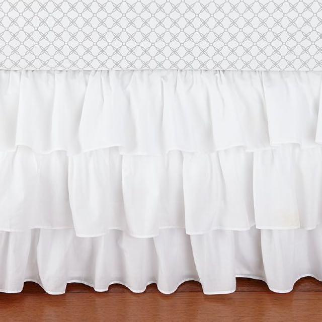 Pottery Barn Kids - White ruffle Crib Skirt (white)