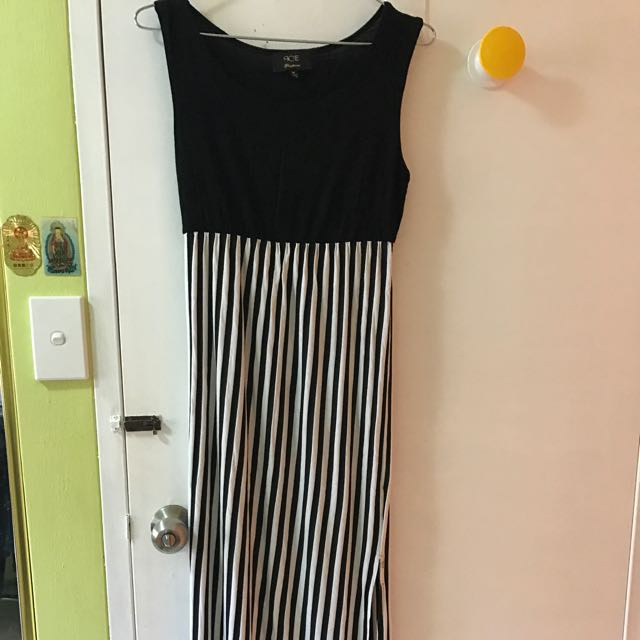 Split Long Stripe Dress
