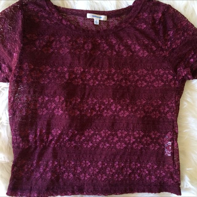 Valley Girl Wine Coloured Lace Crop Top