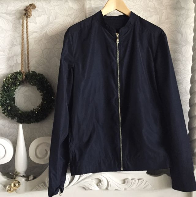 ZARA MAN Navy Bomber Jacket