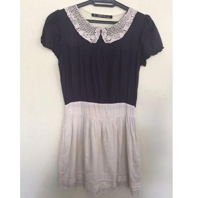 Zara Navy & White Dress