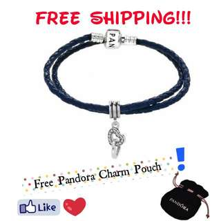 Pandora Black Double Strand Leather Bracelet With Intertwined Charm Size: 35cm