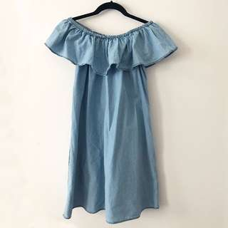 Mango Off the Shoulder Denim Dress