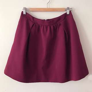 JCrew Maroon a-line pleated Skirt