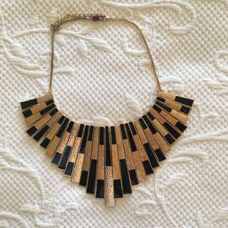 Beautiful Black And Gold Statement Necklace