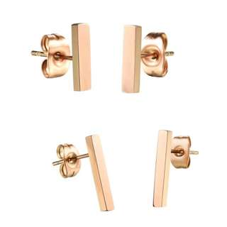 BAR STUDS ROSE GOLD