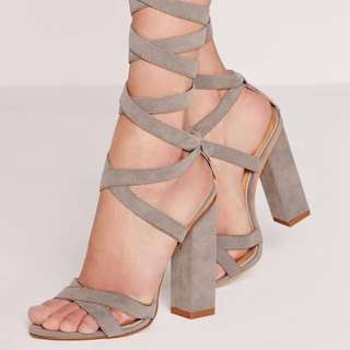 Grey square blocked heel Faux suede laceup straps size 5