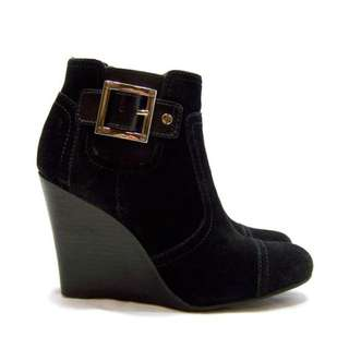 TORY BURCH / 8.5 / Brown Suede Wedge Ankle Bootie