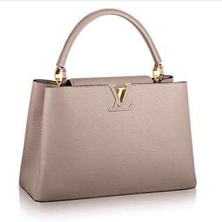Louis Vuitton Capucines MM Bag Beige Gold Hardware