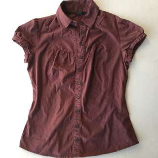 Cue Brown Short Sleeve Shirt Size 8