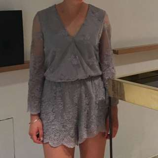 Grey Lace Playsuit