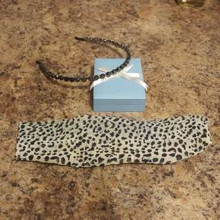 Leopard Head Band and a Black Crystal Hair Band