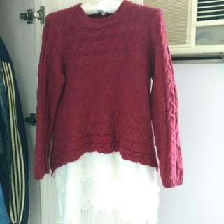 紅色下接布蕾毛衣