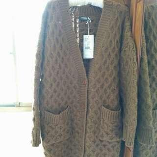 咖啡針織長版外套