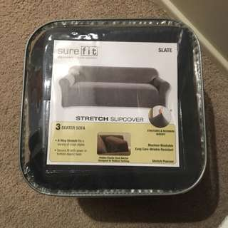 SUREFIT 3 Seater Sofa Stretch Slipcover (slate)