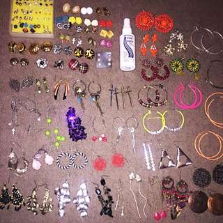 91 Pairs Earrings - Studs, Hoops, Clip Ons, Dangly