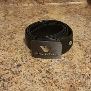 Black Leather ARMANI Belt Size 40-44