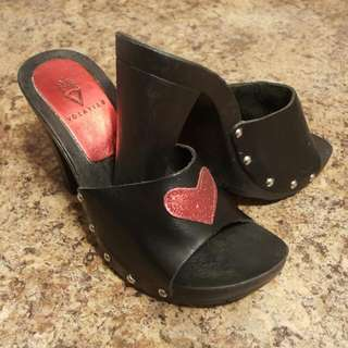 Volatile Vintage Black Mules With Red Sparkle Heart and Silver Side Studs