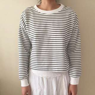 Staple White Long Sleeve Striped Top