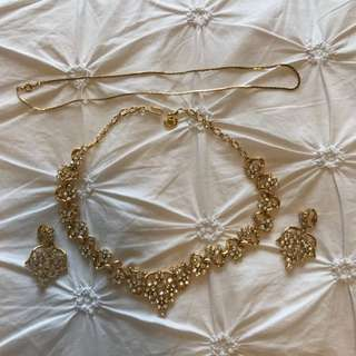 Gold Plated Cubic Cz Earrings Necklace Chain