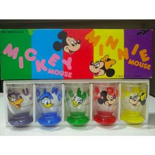 Disney Collectibles 5 Glass Cup Set 1990s (Genuine)