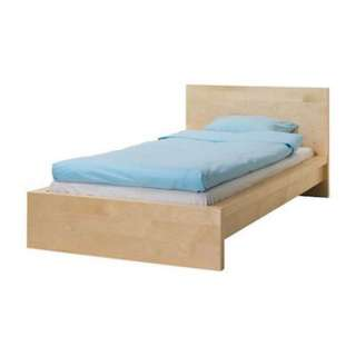 Malm Bedframe , Complete With Mattress And Mattress Topper (Sungle)