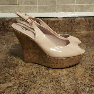 Beige Peek-a-boo Toe Wedges Size 8