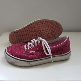 VANS Low-Cut Maroon & Pink Pokey Dot Women Size 8