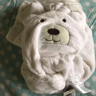 Carter's Bear Fleece Blanket White