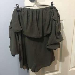 Off Shoulder Khaki Playsuit Size 8
