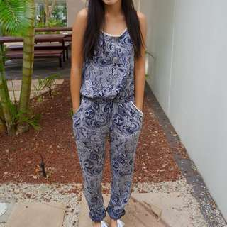 Paisley Jumpsuit With Tie String At Waist