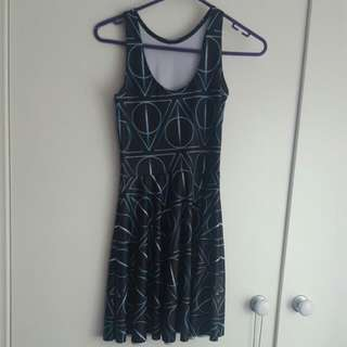 Black Milk Clothing Deathly Hallows Reversible Skater Dress Size Small